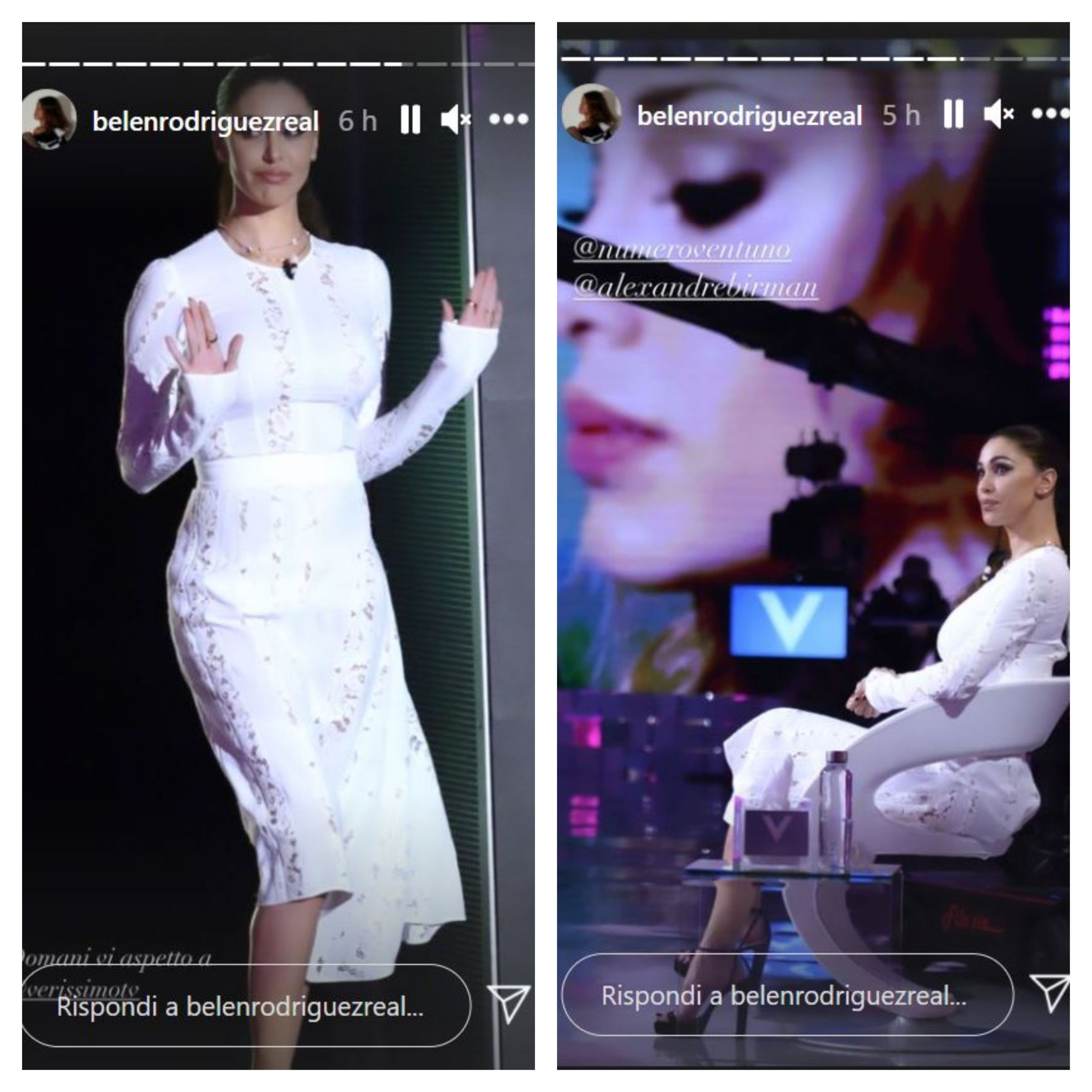 look belen verissimo abito pizzo bianco scaled